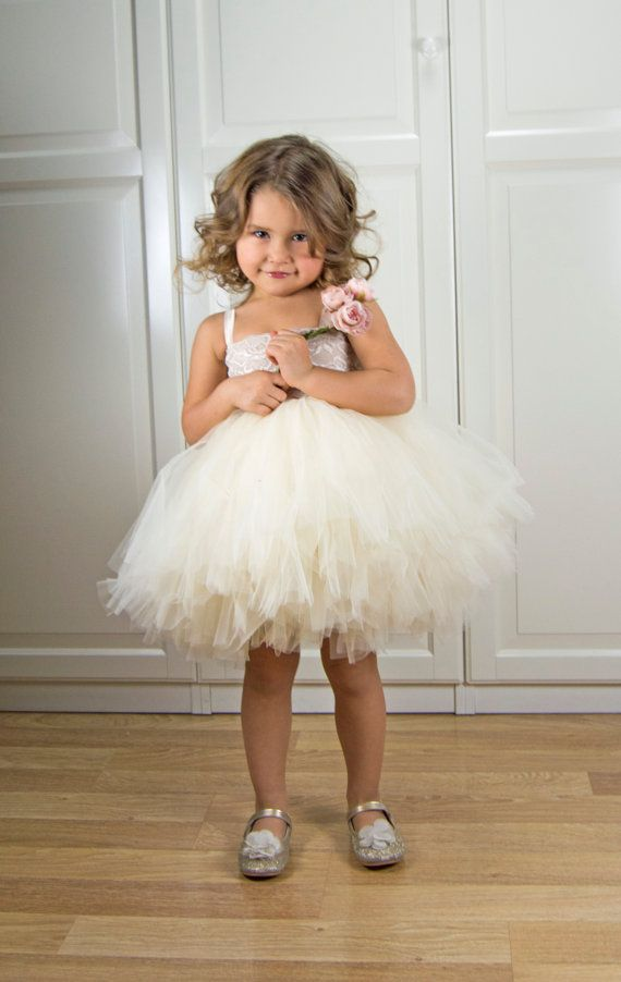Cream Champagne Tutu Dress with Stretch Lacy Top by AylinkaShop