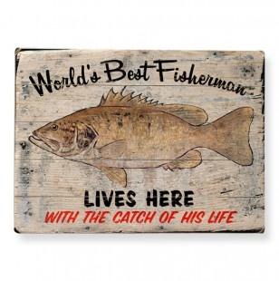 Worlds Best Fisherman Wall Art 12x16