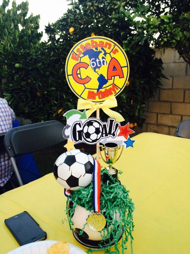 Birthday centerpieces soccer theme america