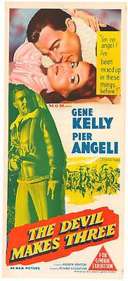 THE DEVIL MAKES THREE (1952) - Gene Kelly - Pier Angeli - MGM - Australian insert movie poster.