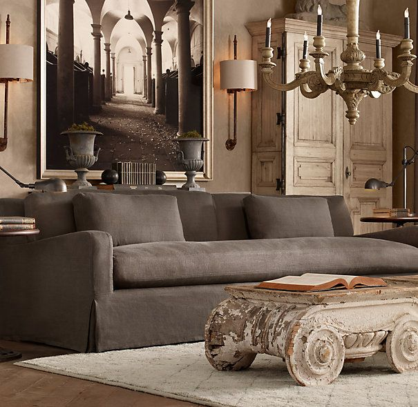 Belgian Slope Arm Slipcovered Sofas Restoration Hardware. Shown in charcoal. I would suggest the 9'.