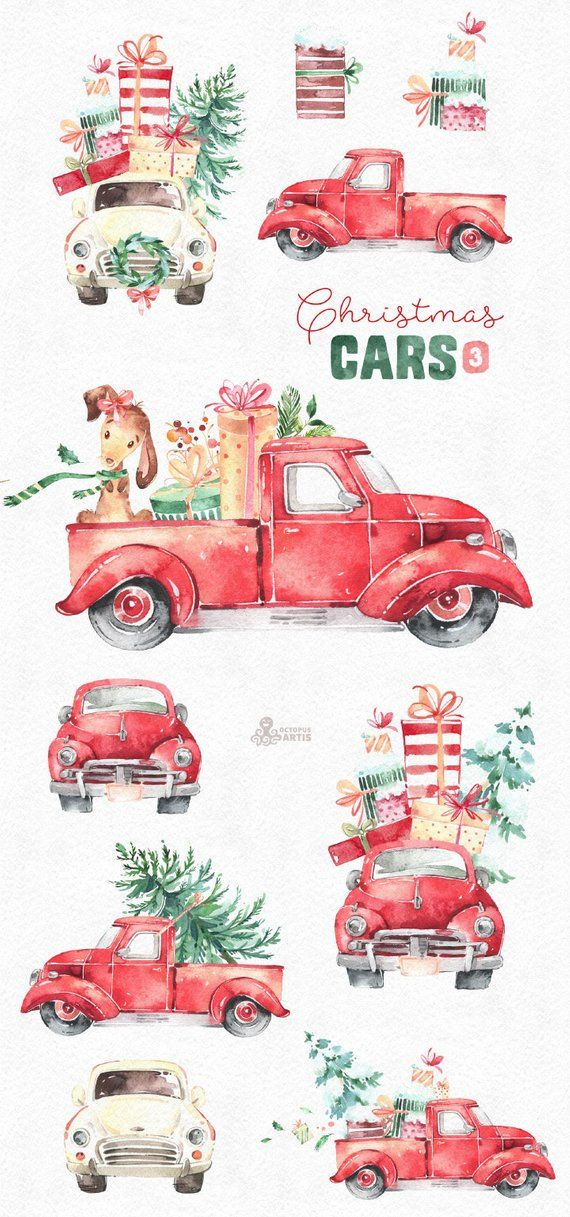 Christmas Cars 3. Watercolor holiday clipart, vintage, retro truck, gifts, Christmas tree, floral wreaths, xmas, merry, holly, greetings