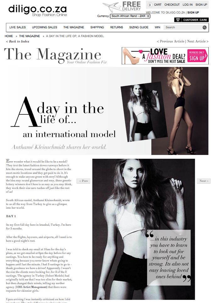A day in the life of an international model. Read more in The Magazine . http://www.diligo.co.za/magazine/2013/06/18/a-day-in-the-life-of-a-fashion-model/