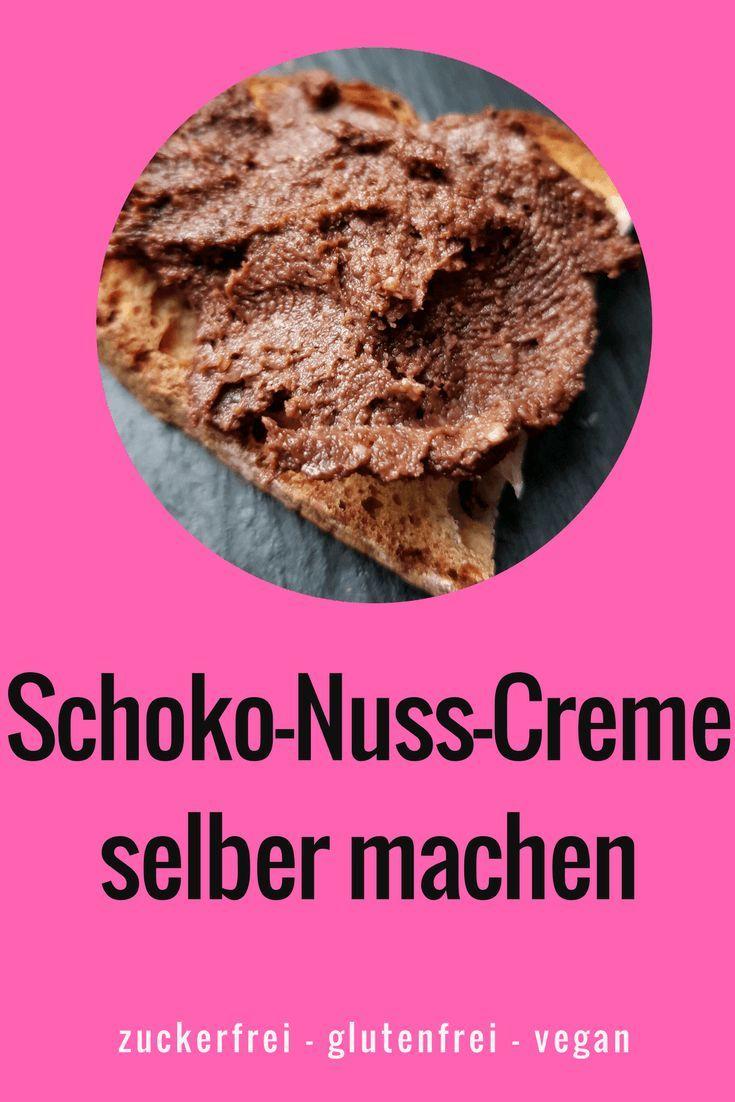 süßen Brotaufstrich selber machen: Schoko-Nuss-Creme statt Nutella für ein zuckerfreies Frühstück  #zuckerfrei #glutenfrei #vegan #frühstück #schokoholic
