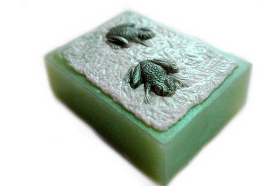 Frog Soap  2 Green Frogs on a Lily Pad by SkyRainSoap on Etsy