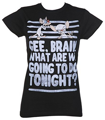 Pinky and the Brain Retro Camiseta Negro batba
