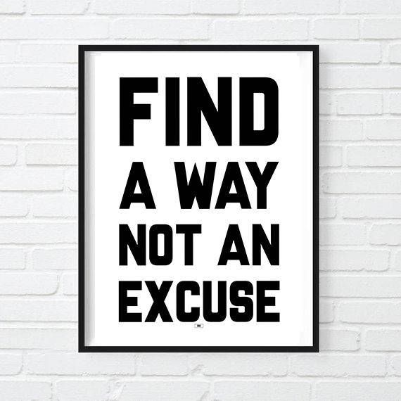 No Excuses Motivational Quote Print Motivation Poster Inspirational Cool Framed Wall Art Gift For Boss Lady