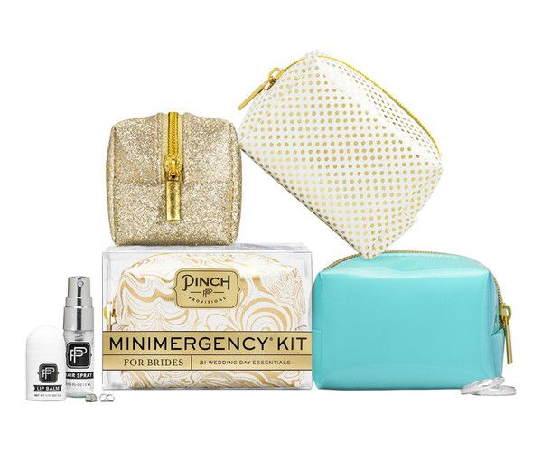 """Say """"I Do"""" to disaster relief with the Minimergency® Kit for Brides by Pinch Provisions®. This kit is chock-full of 21 little essentials to save the big day, in"""