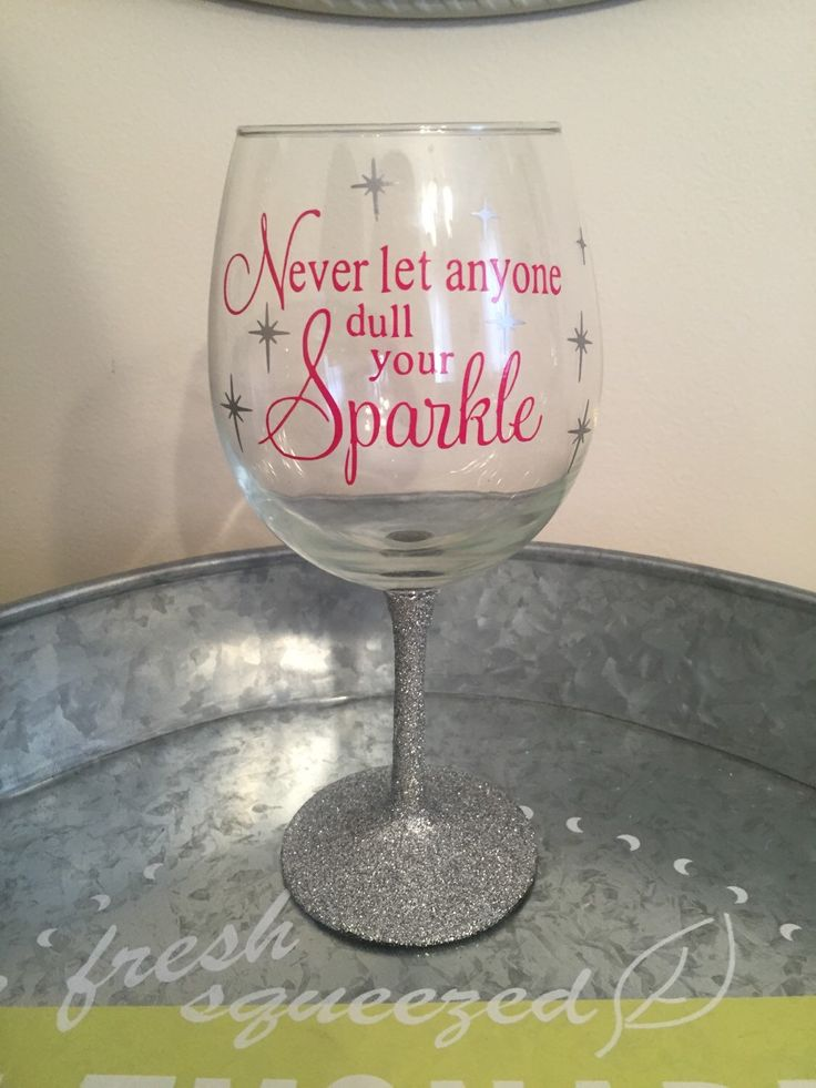 A personal favorite from my Etsy shop https://www.etsy.com/listing/235828451/glitter-stem-wine-glass