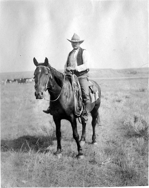 This is a cowboy on Grant-Kohrs Ranch, Montana around 1910. Find out more about Montana cowboys in Peter Bowen's Gabriel Du Pre Montana Mystery series available on ebook! http://www.openroadmedia.com/peter-bowen