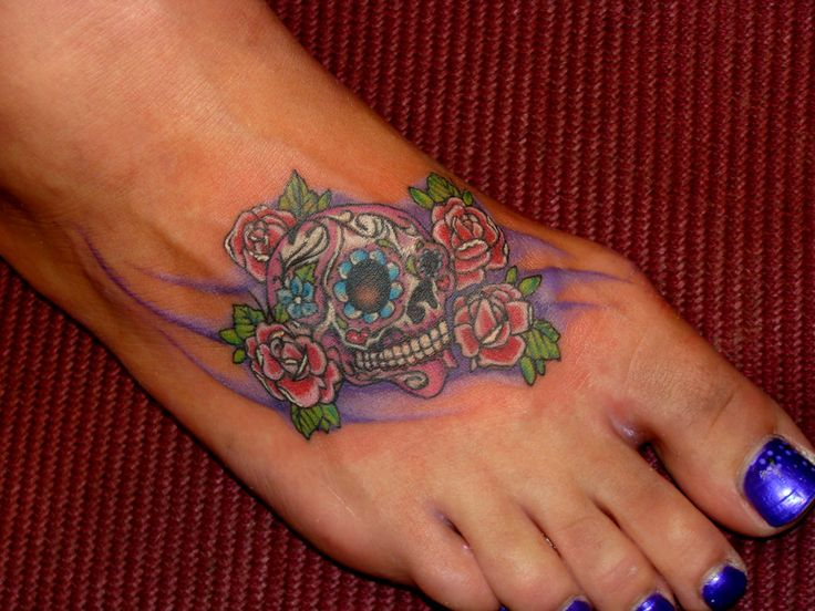 Sexy sugar skull girl tattoo sugar skull tattoos designs and ideas things to wear - Small foot design ...