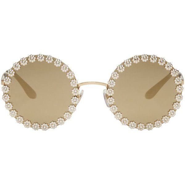Dolce and Gabbana Gold Studded Daisy Sunglasses ($705) ❤ liked on Polyvore featuring accessories, eyewear, sunglasses, dolce gabbana sunglasses, daisy sunglasses, uv protection glasses, uv protection sunglasses and cut out glasses