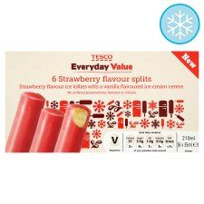 Tesco Everyday Value 6 Strawberry Flavoured Splits 210Ml - Groceries - Tesco Groceries - 2syns each