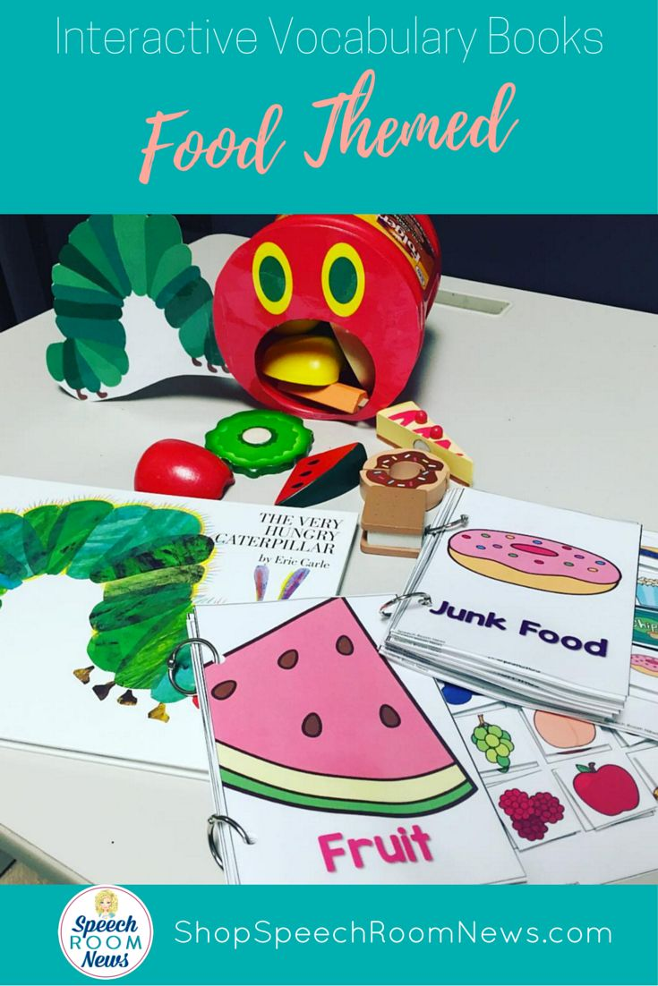 Preschool speech therapy is all about a hungry caterpillar! Pair the Very Hungry Caterpillar with some Food Interactive Vocabulary Books from Speech Room News.