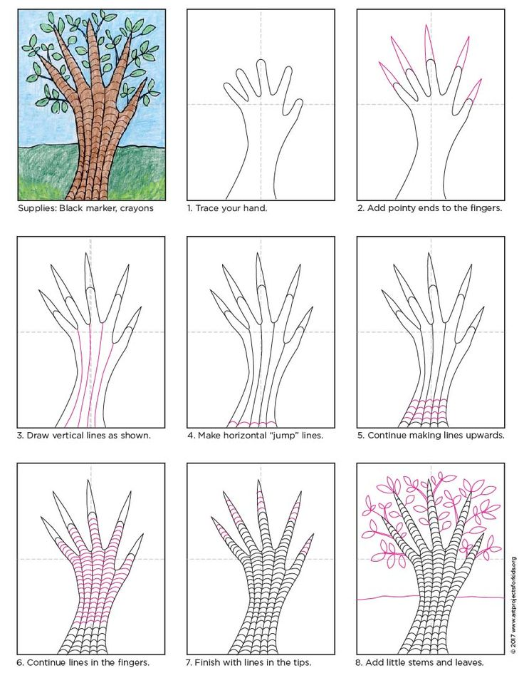 Draw a Tree with Your Hand. A fun way to add more details to tree drawings. #howtodraw #directcraw