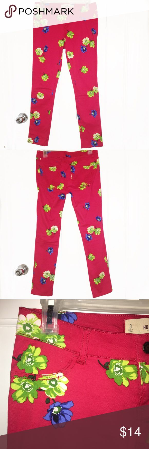 "Hollister Flower Jeggings ‼️BUNDLE & SAVE‼️*add to dressing room bundle & expect a private offer! Hollister Flower Jeggings -Stretchy, front ""pockets"" do not open (see 3rd pic) -Pants are Red with Lime Green & Blue Flower Print (SUPER BRIGHT) -NEVER WORN, PERFECT CONDITION 🚬Smoke free environment 💸Price is negotiable, MAKE AN OFFER! 👇➖➖➖➖➖➖➖➖➖➖➖➖👇 •Additional pictures upon request •Pls ask ALL questions prior to purchasing •Offers via ""offer"" button only •No trades, no holds, no…"