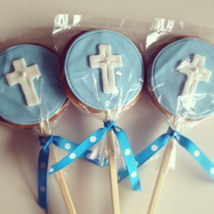 Communion cookie pops.