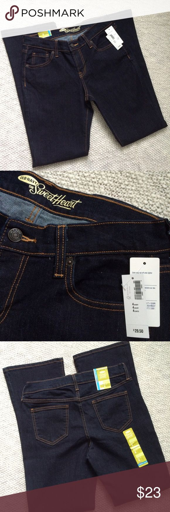 NWT Old Navy Sweetheart Bootcut Dark Wash Rise 9 Inseam 30. Size is 4 short. Old Navy Jeans Boot Cut