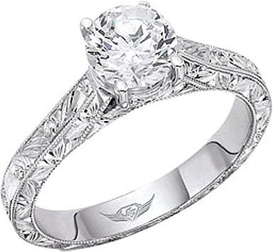 FlyerFit Hand Engraved Solitaire Engagement Ring But Of Course With A Different Center Stone