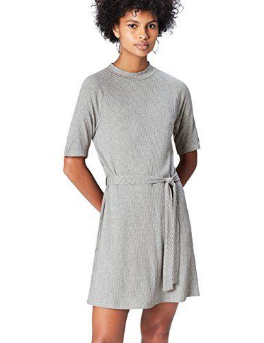 1ca4fbe2957b FIND Kleid Damen mit Gürtel gerippt 2 5-Ärmel Tunnelkragen Grau (Grey)