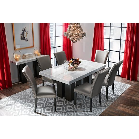 Artemis Marble Dining Table Grey Upholstered Dining Chairs