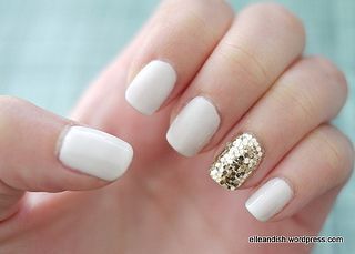 White with gold accent