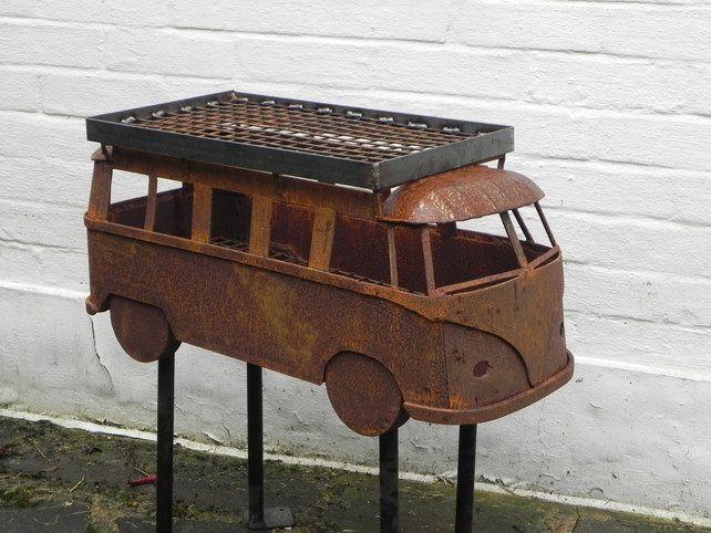 vw camper inspired garden sculpture fire pit bbq. Black Bedroom Furniture Sets. Home Design Ideas