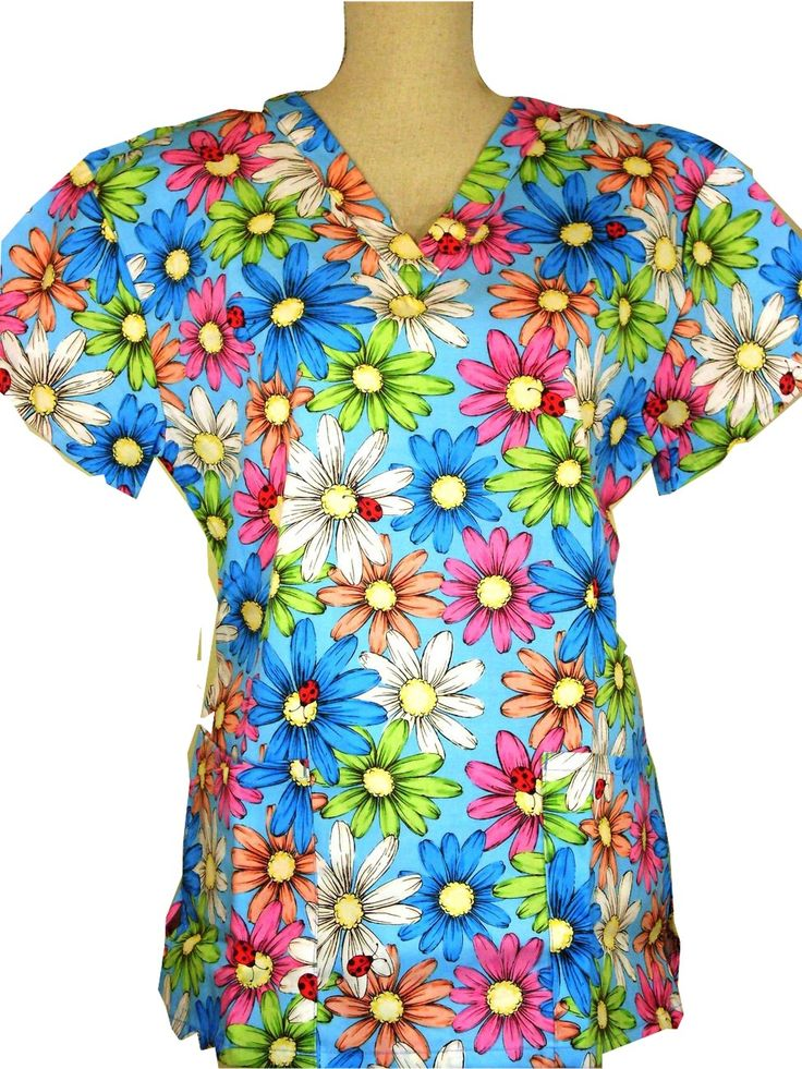 #caringplus scrub top -Big Bold Beautiful Flowers Floral Blue - CaringPlus scrubs and uniforms - workwear clothing for nurses, caregivers and other healthcare professionals. Perfect apparel for doctor, dental and optician offices, nursing homes, rehab centers, vet clinics, animal hospitals, or medical labs.