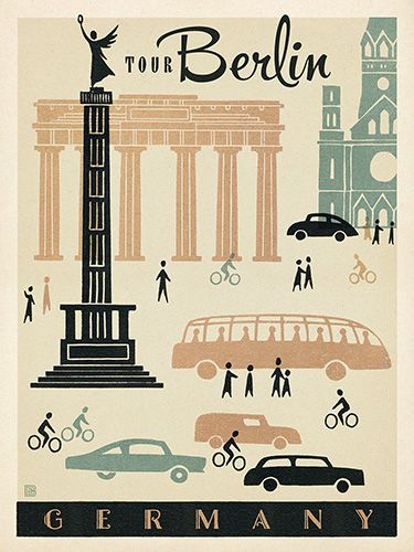 Germany: Berlin Mod - Our latest series of classic travel poster art is called the World Travel Poster Collection. We were inspired by vintage travel prints from the Golden Age of Poster Design (a glorious period spanning the late-1800s to the mid-1900s.) So we set out to create a collection of brand new international prints with a bold and adventurous feel.
