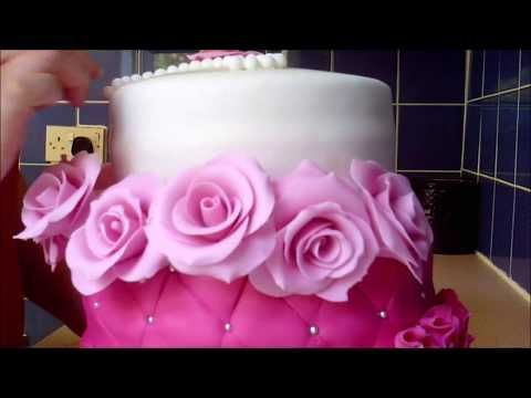 How to make a FONDANT ROSE & RUFFLES, Quilted cake tutorial - YouTube