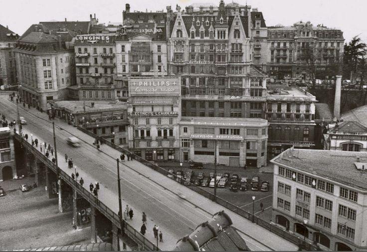Vue sur la place de l'#Europe en 1953. Image: Service d'urbanisme de la Ville de #Lausanne