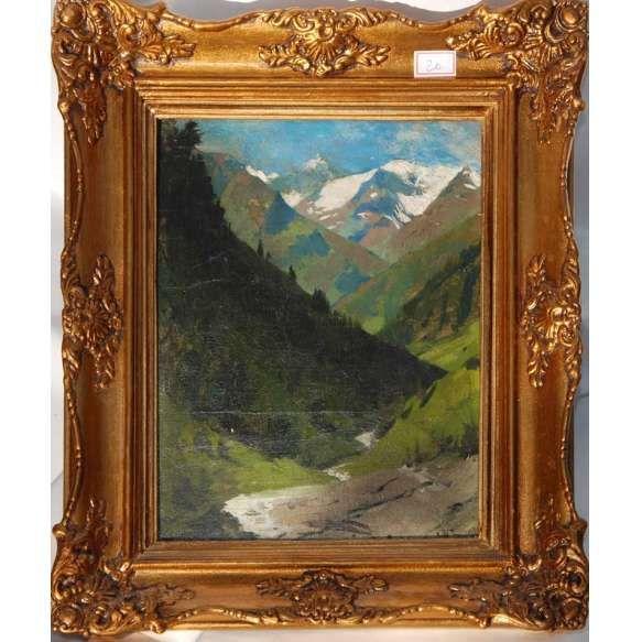 Fischer Hans Ludwig ( Salzburg, 1848-1915 ) <br /> MEDIDAS: 31,5 x 24 cm. <br /> TÉCNICA: o.s.tela colada em cartão.<br /> DATADO: 1870 <br /> TEMÁTICA: Montanhas nevadas.<br /> MOLDURA: de época. <br /> Cotação internacional media: € 7.000 / 10.000 (vide fotos)<br /> _____Ludwig Hans Fischer nasceu em 1848 em Salzburg, onde faleceu 1915. foi aluno, na Academia de Belas Artes de Viena , tendo estudado pintura com Eduard von Lichtenfels e gravura com Louis Jacoby. Posteriormente ao completar…