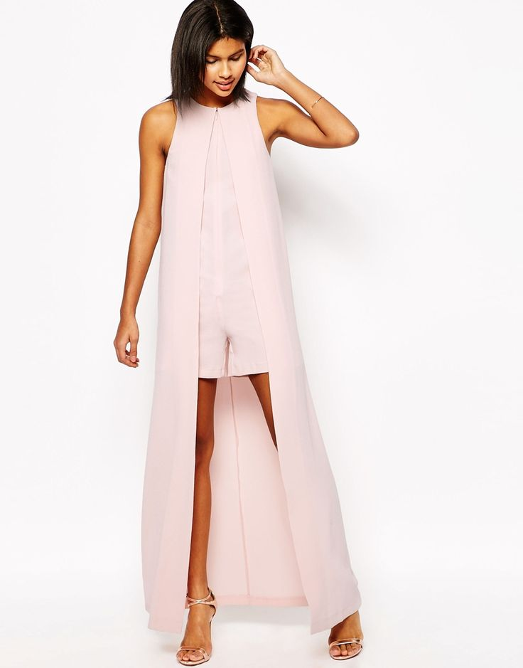 Image 1 of ASOS Occasion Romper with Maxi Cape Detail