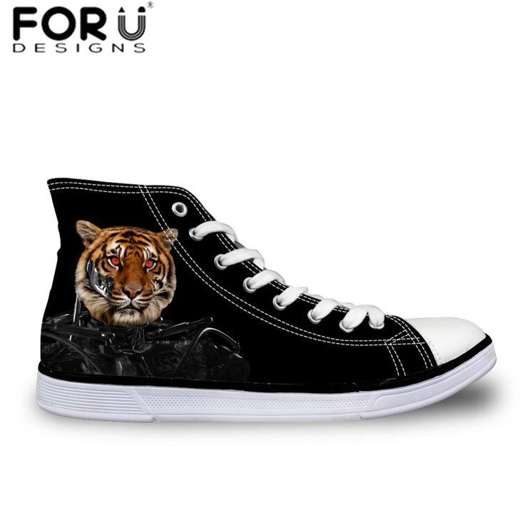 Forudesigns 2017 новые мужская обувь высокого верха обуви холст для мужчин, мужчины Квартиры Обувь Черный Тигр Дизайн Обувь для Подростков Мальчик Колледжа(China (Mainland))
