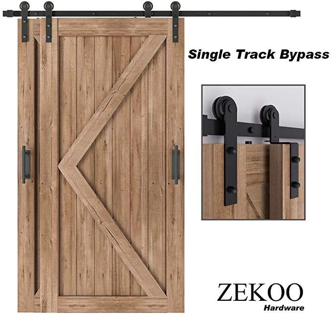 Amazon Com Zekoo 4 Ft 12 Ft Bypass Sliding Barn Door Hardware Kit Single Track Double Wooden Doors U In 2020 Sliding Door Hardware Barn Doors Sliding Door Hardware