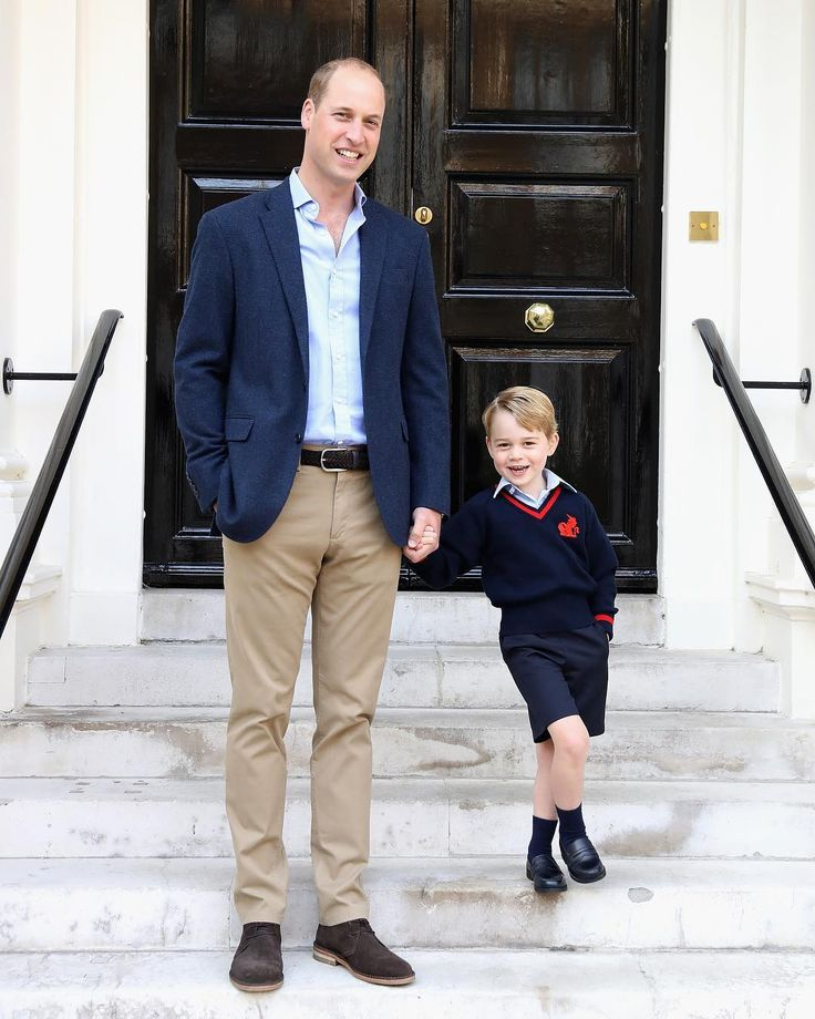 Prince William with Prince George on is first day at school