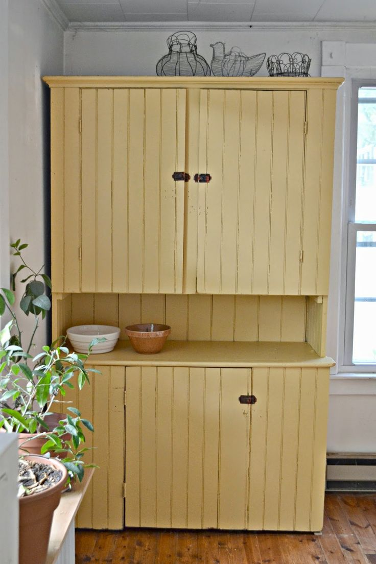 Kitchen cabinets eastern ct - Antique Yellow Cupboard Salvaged From A Creepy Dirt Cellar In Eastern Connecticut Painted In Benjamin