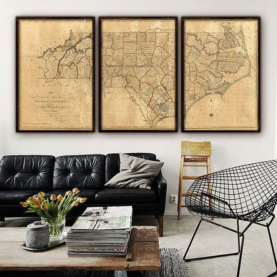 "Huge map of North Carolina from 1808, Vintage North Carolina map up to 96x48"" (240x120 cm) either in 1 long print or in 3 separate segments"