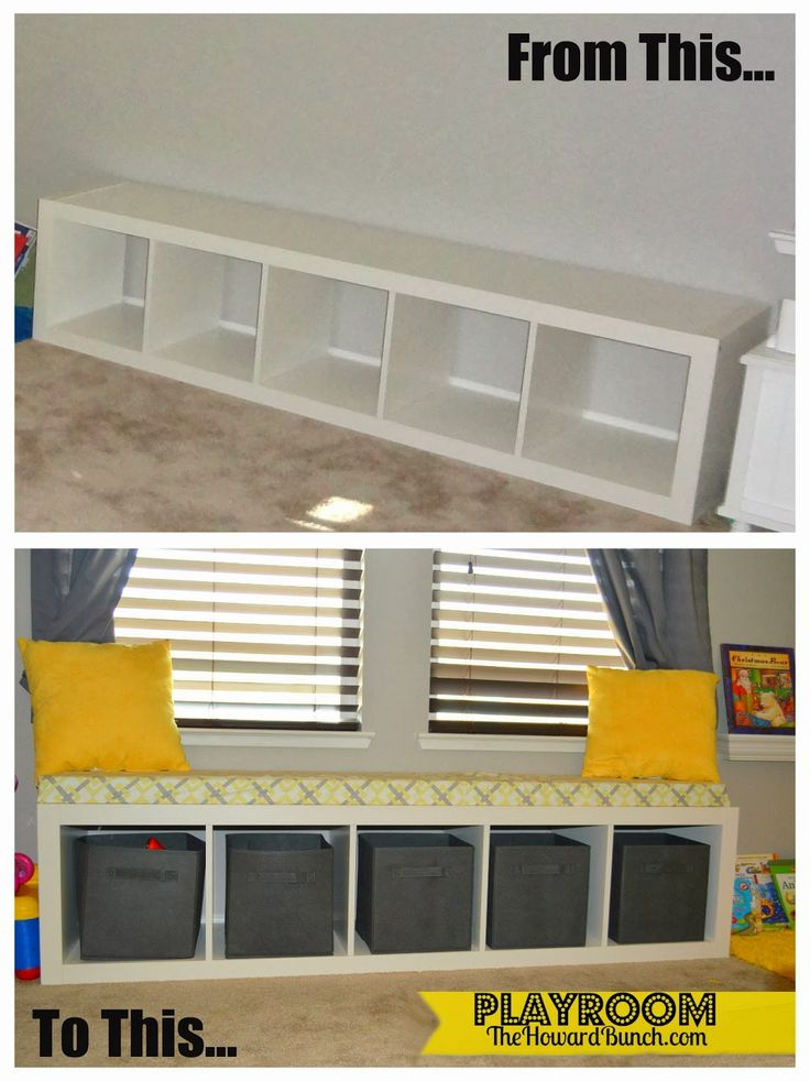 A Playful Yellow and Gray Playroom Bench Seating