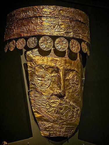 Burial golden mask of a Princess Archontiko, 540 BC. Pella Archaeological Museum, Macedonia Greece
