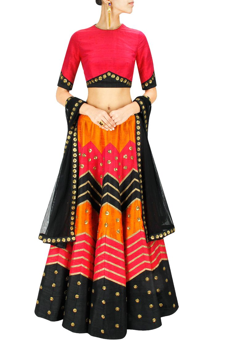 Red, black and orange gota and sequins embroidered lehenga set BY PRIYAL PRAKASH. Shop now at: www.perniaspopups... #perniaspopupshop #designer #stunning #fashion #style #beautiful #happyshopping #love #updates