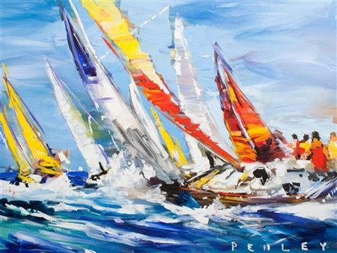 Sailboats Racing by Steve Penley