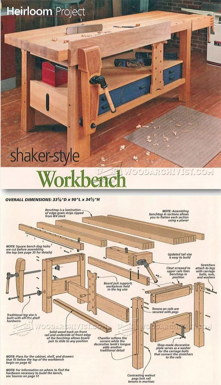 Shaker Workbench Plans - Workshop Solutions Projects, Tips and Tricks | http://WoodArchivist.com