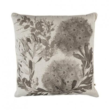 Flowering Gum Cushion in Black | 60cm | Bonnie & Neil – Salt Living or online at www.saltliving.com.ay #saltliving #bonnieandneil #screenprinting #linen #handmade #cushion