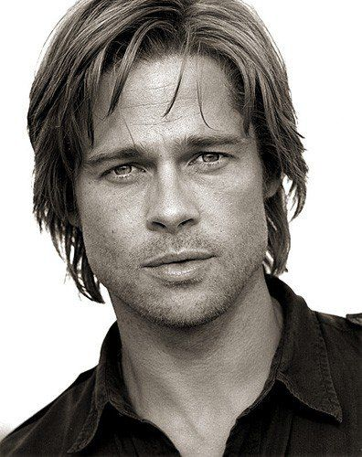 Brad Pitt, male actor, celeb, cute, eyecandy, sexy, steaming hot, powerful face, intense eyes, portrait, photo b/w.