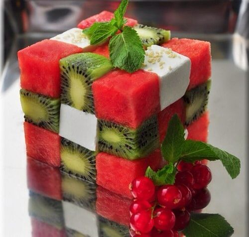 For Alex's Minecraft Birthday, Watermelon, Kiwi and a white cheese.