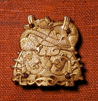 Credit: Brooch (gold), Viking / National Museum of Antiquities, Stockholm, Sweden / Ancient Art and Architecture Collection Ltd. / The Bridgeman Art Lib