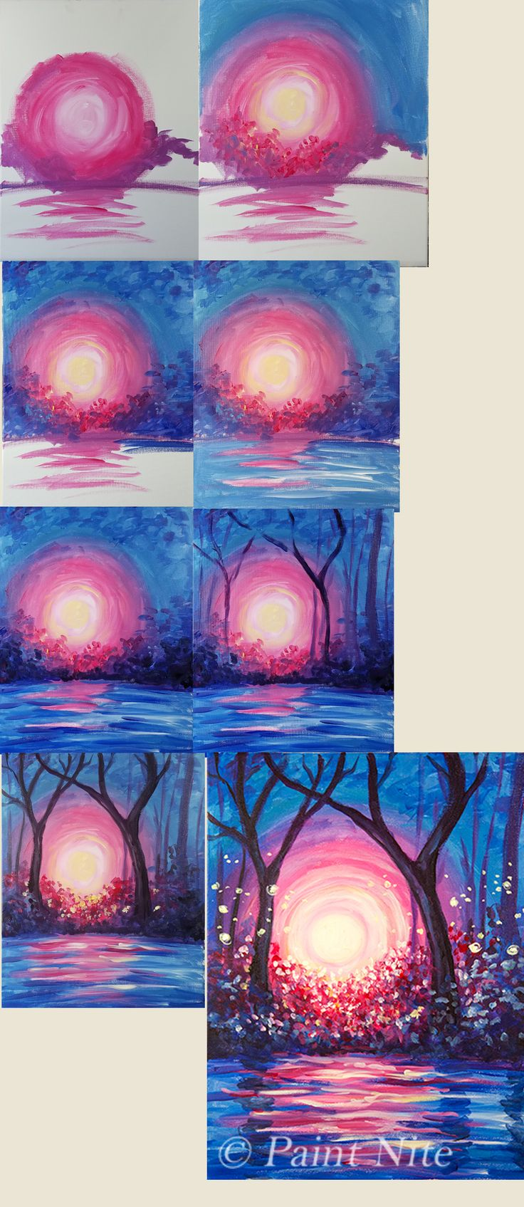 Dance of Light, beginner painting idea pink sunset blue sky and trees, paint nite.