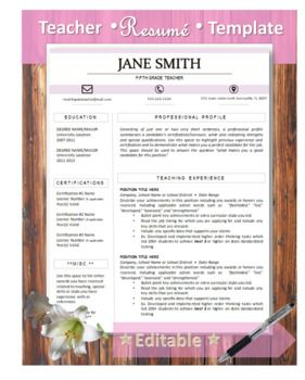 Customizable Pink Block Title Resume Template  This resume is designed with teachers in mind (but can be used for any profession).