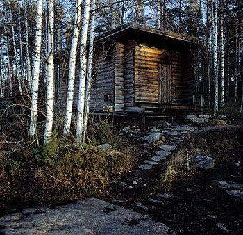 traditional smoke sauna by Alvar Aalto.